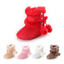 Newborn Baby Toddler Baby Girl Shoes Soft Crib Sole Shoes Boy Girl Kids Bow Bulb Slip-on Baby Winter Warm Boots 0-18M cheap Wheat Turtle COTTON Snow Boots Plush Flat with Butterfly-knot Mid-Calf Cotton Fabric Round Toe Fits true to size take your normal size