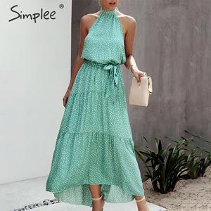 Image 5 - Simplee 섹시한 폴카 도트 여성 드레스 플러스 사이즈 민소매 높은 허리 벨트 맥시 boho 드레스 캐주얼 휴가 해변 파티 여름 드레스
