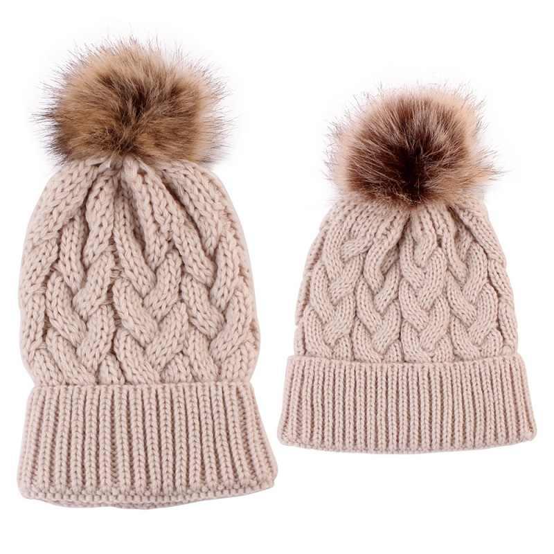 Bebé niño invierno Crochet sombrero de pompón de niño invierno madre y bebé sombrero