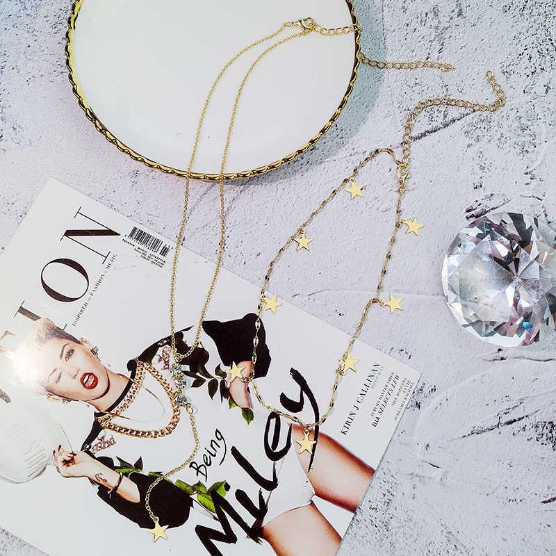 Drejuif multicouche or étoile lune strass pendentif collier 925 longue chaîne en acier inoxydable colliers femmes déclaration bijoux