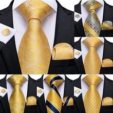 Подарок, мужской галстук, желтый, синий, в полоску, Пейсли, Шелковый, Свадебный галстук для мужчин, DiBanGu, дизайн, Hanky, запонки, качественный мужской галстук, набор, Прямая поставка