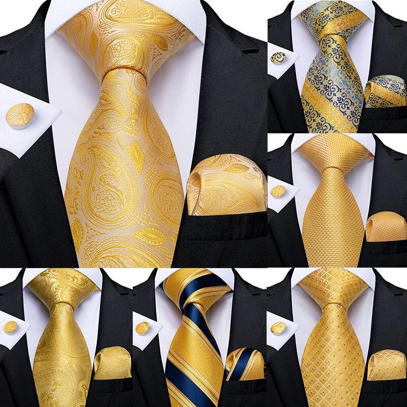 Gift Men Tie Yellow Blue Striped Paisley Silk Wedding Tie For Men DiBanGu Design Hanky Cufflink Quality Men Tie Set Dropshipping