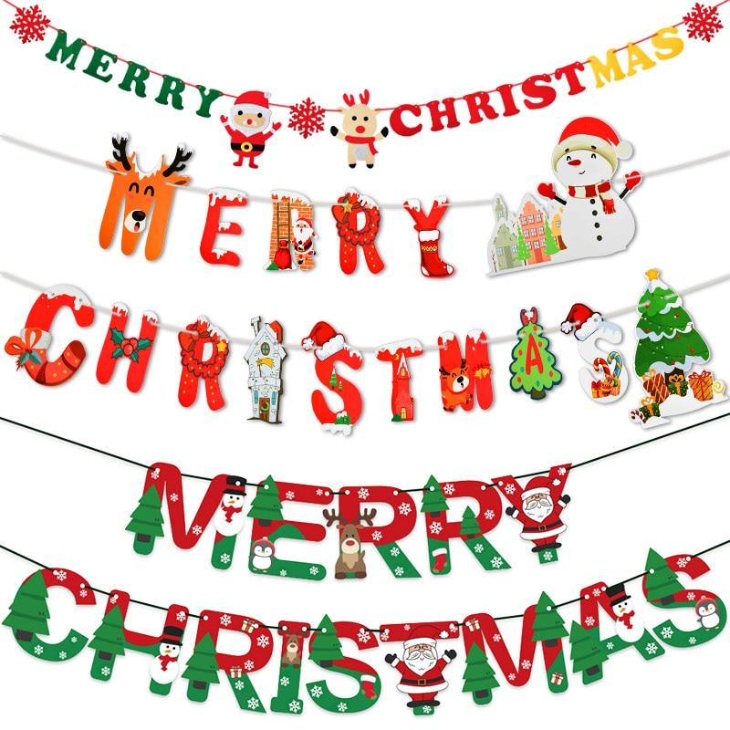 Frohe Weihnachten Banner Papier Girlande Schneemann Elch Hängen Fahnen Weihnachten Ammer Weihnachten Ornament für Navidad Noel Kerst 2021 Deco