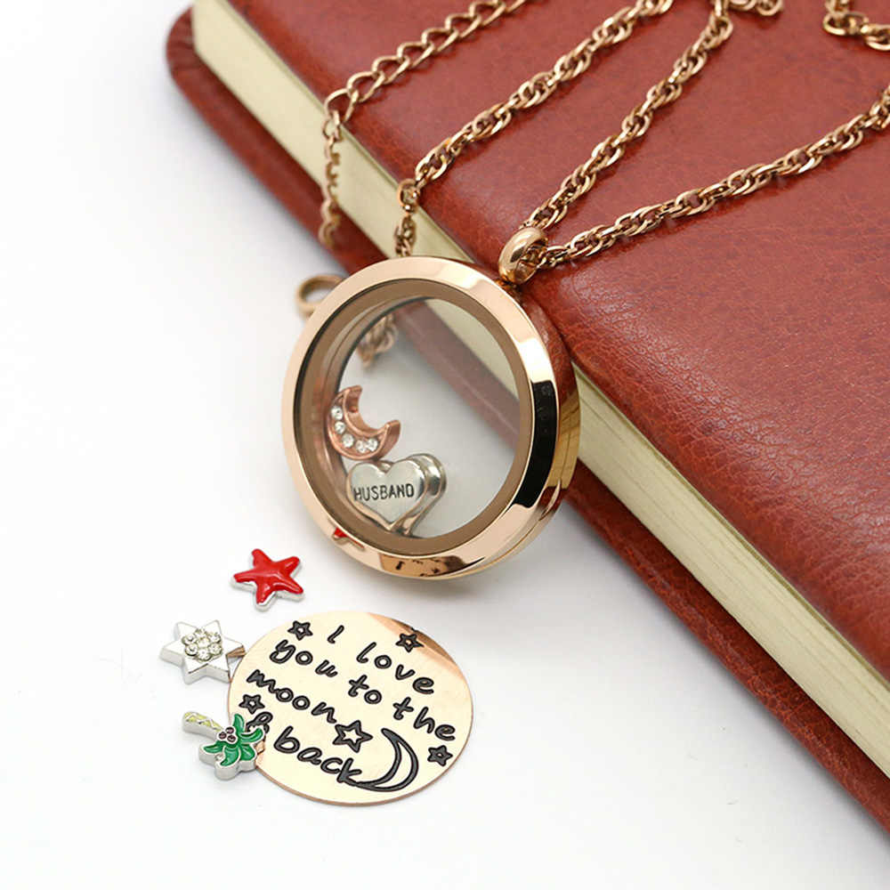 BOFEE pływający urok okrągły wisiorek naszyjnik medaliony ze stali nierdzewnej DIY szkło magnetyczne różowe złoto walentynki prezent 30MM