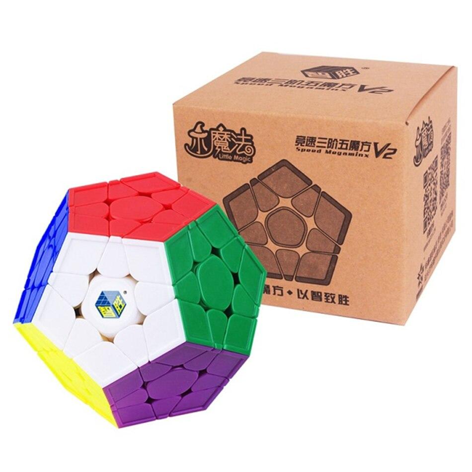 V2 Yuxin petit Cube magique 3x3 Megaminx V2 Cube sans colle 3X3 Megaminx Cubo Magico 3 couches Cube de vitesse professionnel Puzzle jouets