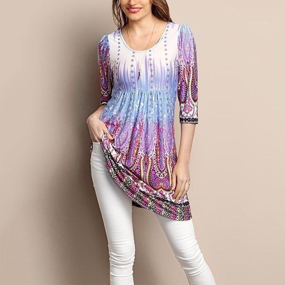 2020 Muslim Women Boho Flower Print Bangladesh Turkish Tops Dubai Print Shirt Casual Loose Islamic Clothes
