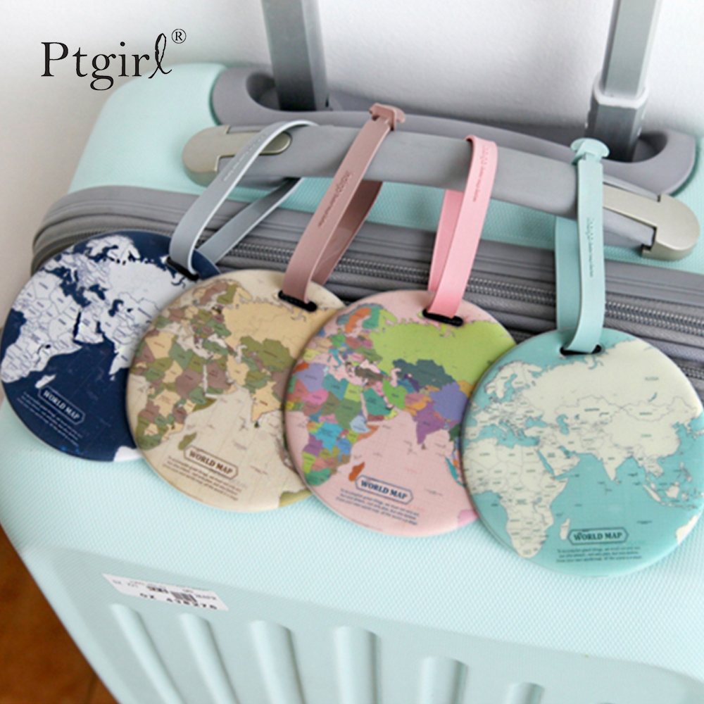 Fashion Map Luggage Tag Women Travel Accessories Silica Gel Suitcase ID Address Holder Baggage Ptgirl Tag Portable Label Bag Tag