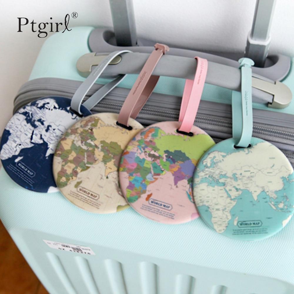 Fashion Map Luggage Tag Women Travel Accessories Silica Gel Suitcase ID Address Holder Baggage Ptgirl Tag Portable Label Bag Tag