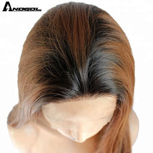 Image 5 - Anogol Brand Dark Roots Ombre Brown Synthetic Lace Front Wigs Long Straight Heat Resistant Fiber Wigs for Women Daily Use