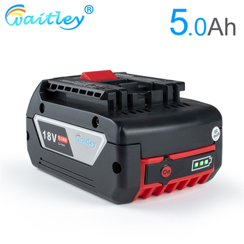 Waitley 18V 5000mah Rechargeable Li-ion Battery For Bosch 18V Power tool Backup 5.0A Portable Replacement BAT609 Indicator light waitley 18v 5 0ah replacement lithium battery for milwaukee m18 power tool ion 18 v batteries 5000mah for cordless drill tools
