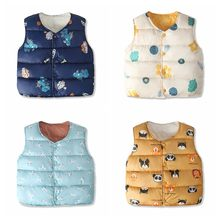 Winter Children's Clothing Girl Boy Jacket Winter Kids Sleeveless Snowsuit Cotton Padded Warm Clothes For Kids Baby Costume(China)