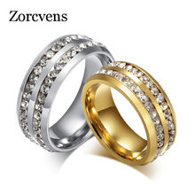 ZORCVENS 8mm magnificence Wedding Rings for Couples Stainless Steel with Full CZ Stones Bands Men Women Luxury Rings(China)