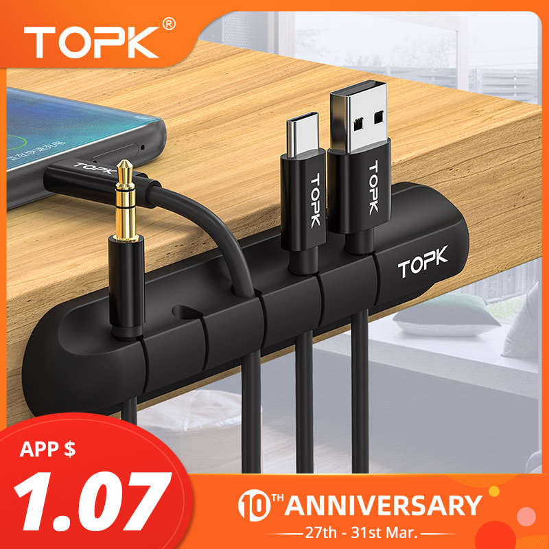 TOPK Winder Cable-Holder Tidy-Management-Clips Headphone-Wire Mouse Usb-Cable Desktop title=