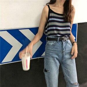 Image 5 - Джинсы Женские однотонные модные элегантные подходящие ко всему высококачественные Свободные повседневные женские в Корейском стиле для отдыха женские простые милые простые джинсы с 2020 отверстиями