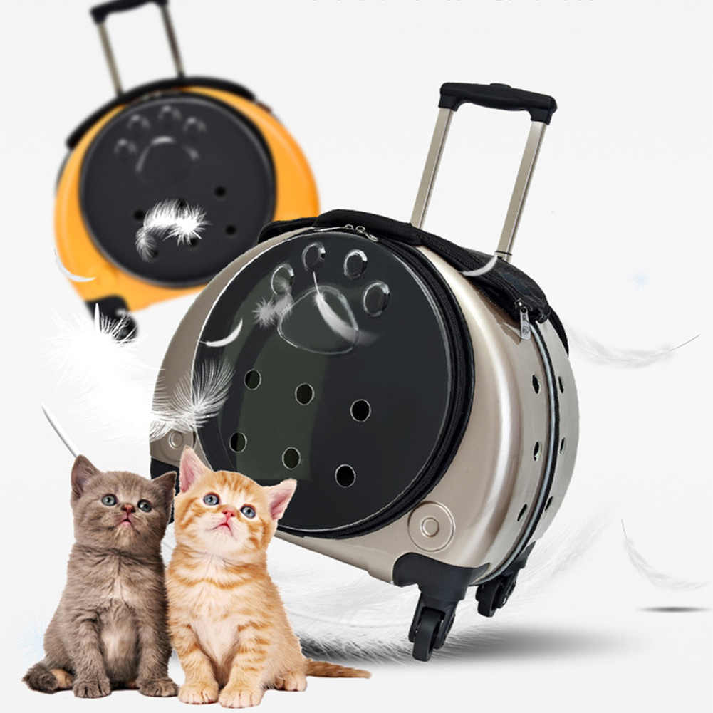 Pet Trolley Carrier Case Portable Outdoor Dog Cat Carriers Bag PU Porous Breathable Pet Transparent Breathable Backpack