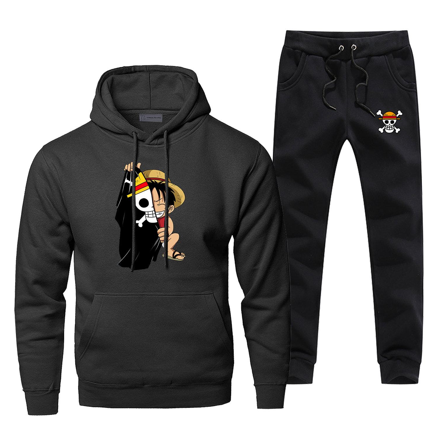 One Piece Men Hoodie Male Pants Set Skull Luffy Sweatshirt Mens Hoodies Sweatshirts Sets Two Piece Pant Japanese Anime 2Pcs Coat