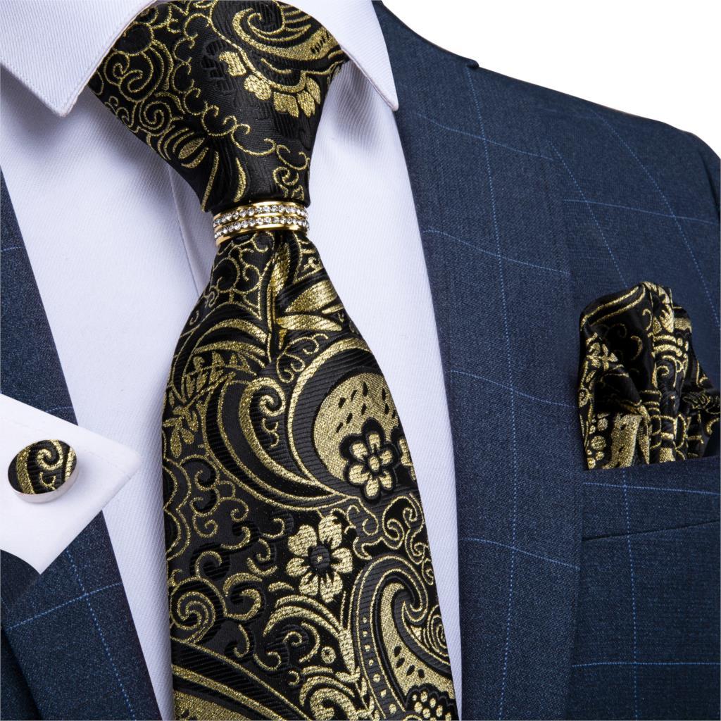 Mens Necktie Gold Black Paisley Design Wedding Tie For Men Necktie Ring Silk Tie Set Hanky Cufflinks DiBanGu Business JZ03-7023