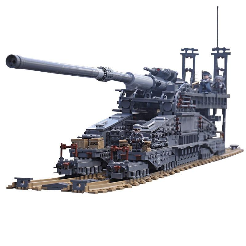 "3846Pcs KAZI Building Blocks 10005 German 80cm K[E] Railway Gun ""Dora"" Military Tanks Series Toys Bricks Compatible Legoingly"
