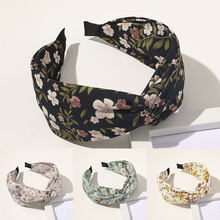 Diademas anudadas a la moda, cinta para el pelo giratoria con estampado Floral, turbante de Cruz ancha, cinta para el pelo con bisel, aro de pelo, accesorios 2020