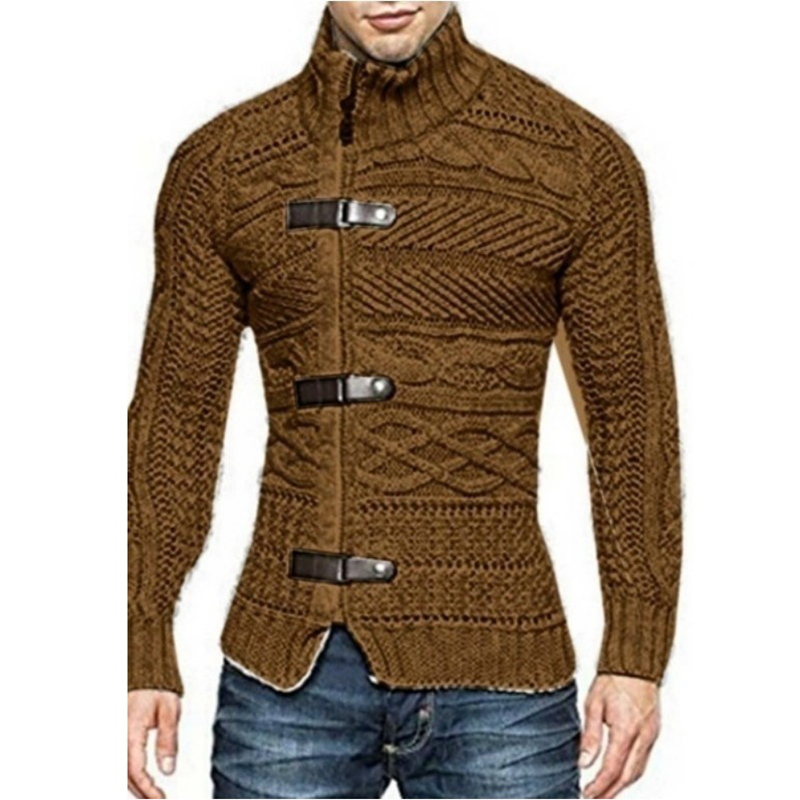 Male Fashion Zipper Buckle Decor Solid Color High Neck Tops Men's Casual  Long Sleeve Buttons Decoration Sweater
