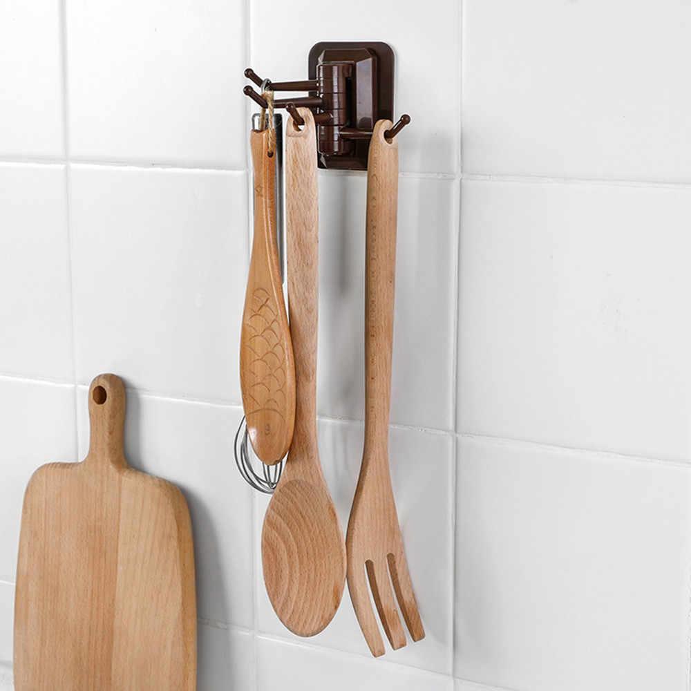 Rotativo de 4 ganchos de cocina estante de pared para baño toallero sin tornillo y accesorio de ama de llaves sin seguimiento ganchos para tubería colgantes