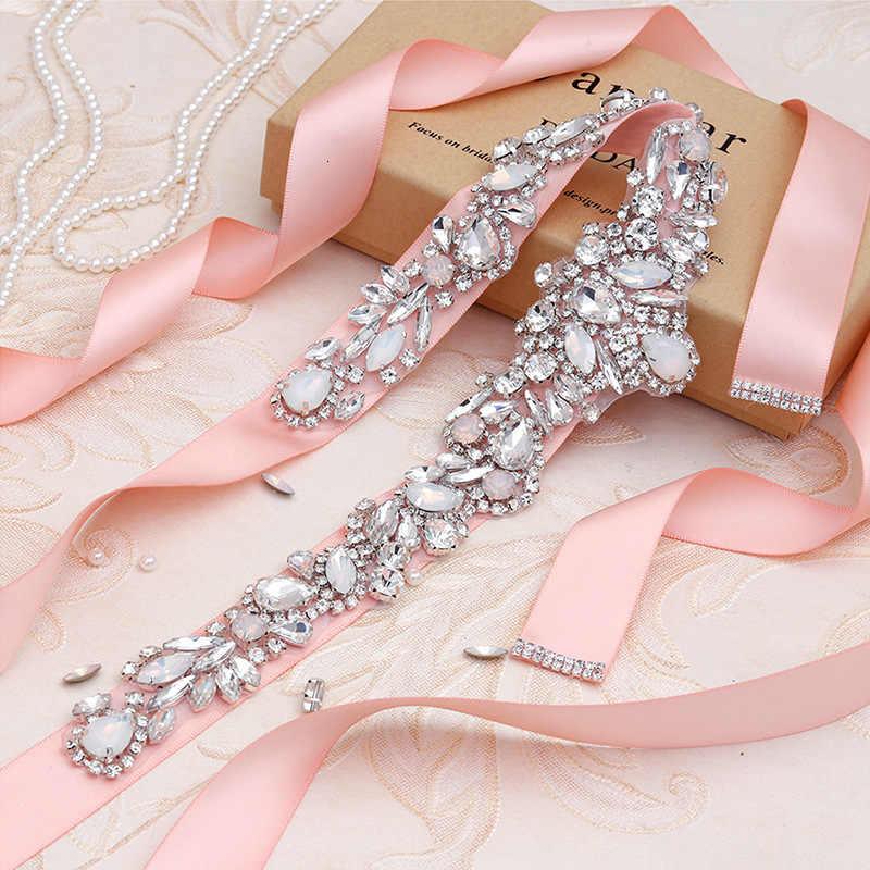 BacklakeGirls Luxe Vrouwen Strass Lange Handgemaakte Riem Trouwjurk Accessoires Huwelijk Bruids Sjerpen Cinturon De Novia