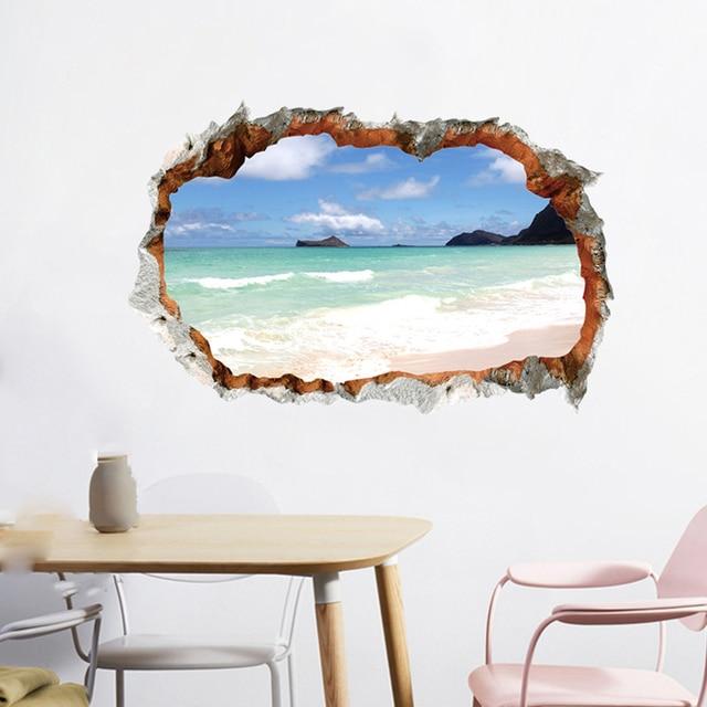 New 1PC 3D Effect Break Through Wall Sticker Sea Ocean Beach Decal Living Room Decor