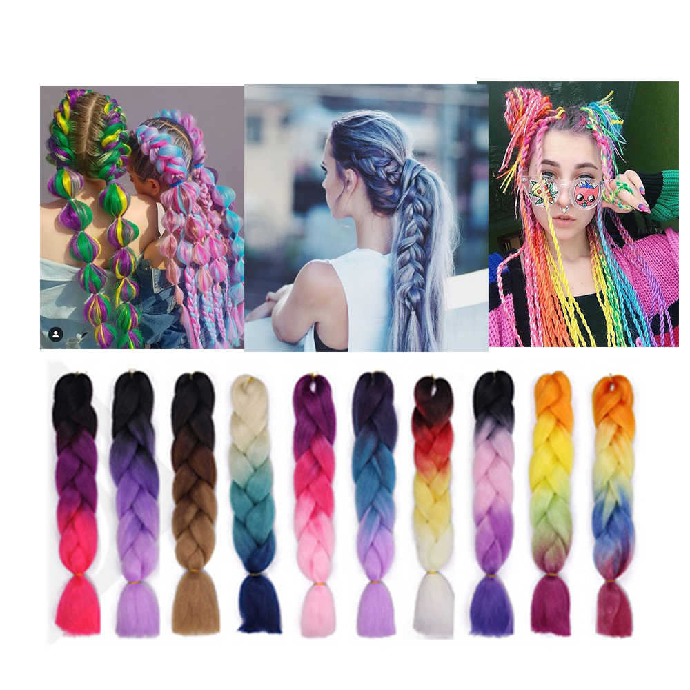 Extensiones de cabello trenzado sintético para cabello trenzado de ganchillo 24 Jumbo pulgadas extensiones Ombre dos Tono de Color Mechas de Cabello de colores