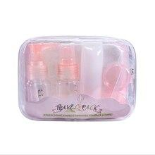 7pcs Refillable Bottles Travel Sub-bottle Set Leak Proof For Shampoo Essence Liquid Cream Portable Convenient