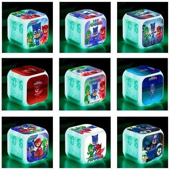 PJ Masks Original Colorful LED Night Light Alarm Clock Catboy Owlette Gekko Theme Clock Toys for Children Birthday Gifts