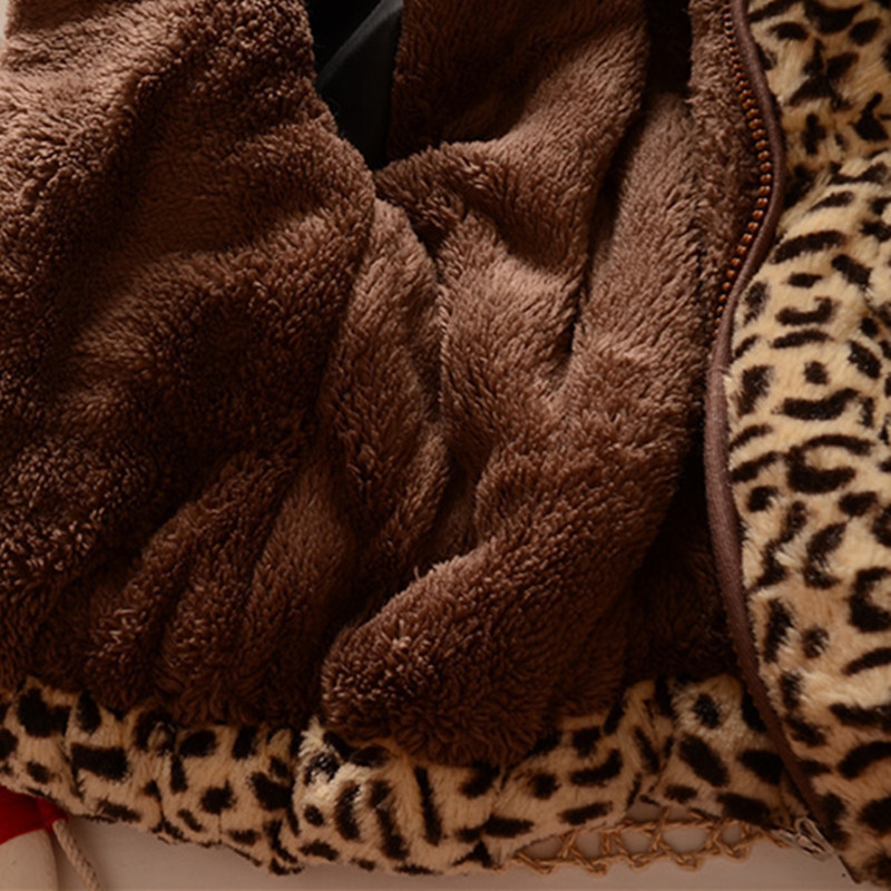 Winter full sleeve Leopard faux fox fur collar Children Girls coat Jacket Baby Girl Outerwear Hooded Infant Clothing Thick Warm 4
