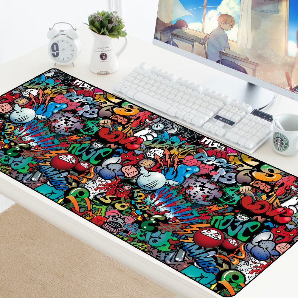 Graffiti 900x400mm Large Gaming Mouse Pad Mat Anime Grande Gamer XXL Computer Mousepad Game Keyboard Desk Play Mats Pad PC Pad