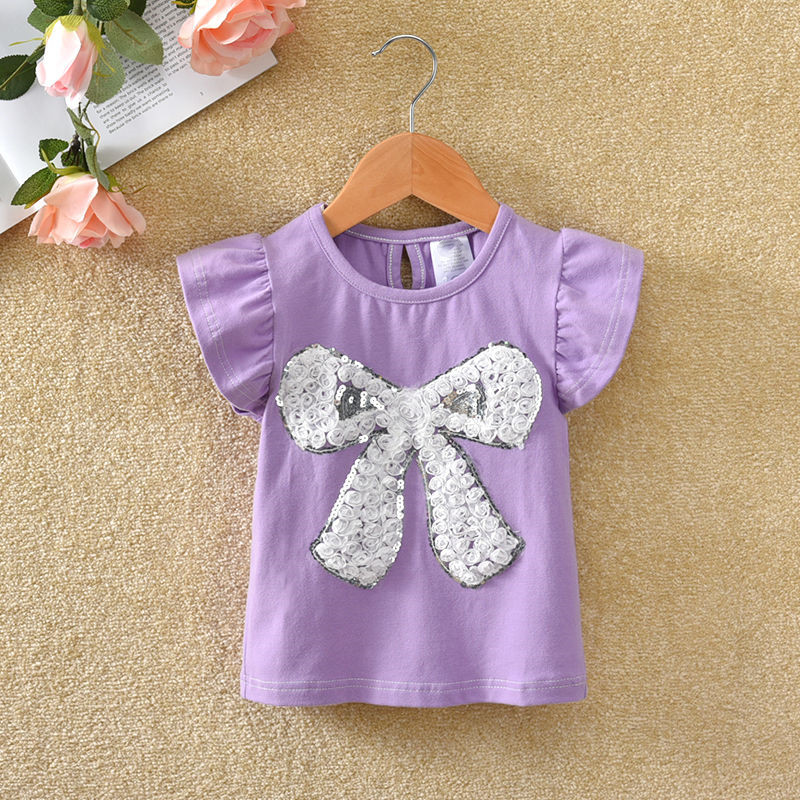 VIDMID Summer Fashion  T-shirt Children Girls Short Sleeves  Tees Baby Kids Cotton Tops For Girls Clothes 1- 7Y  P1054 6