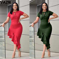 VAZN 2020 Club Style Spring New Solid Lace-Up Sexy Women lace Mid Dress Lady O-Neck SleeveLess High Street Bodycon Dress