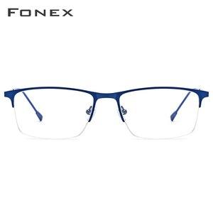 Image 3 - نظارات رجالية من FONEX بإطار مربع وصفة طبية نظارات إطار قصر النظر شبه بدون إطار نظارات بدون مسامير كورية 8836