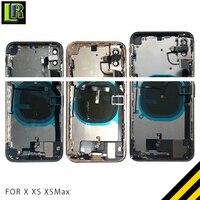 XS полный корпус для iphone Xs Max задняя крышка батарейного отсека Корпус средней рамы + стекло + гибкий кабель в сборе крышка для X