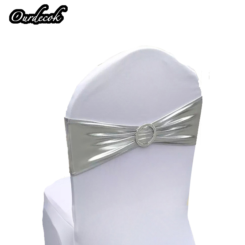 100PCS Spandex Stretch Chair Cover Sashes Band chair cover W// Buckle Decoration