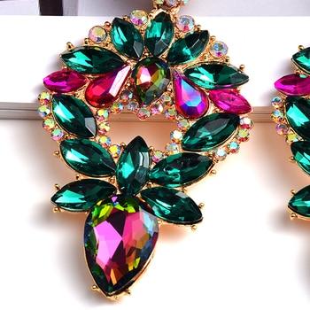 Long Metal Colorful Crystal Drop Earrings  5