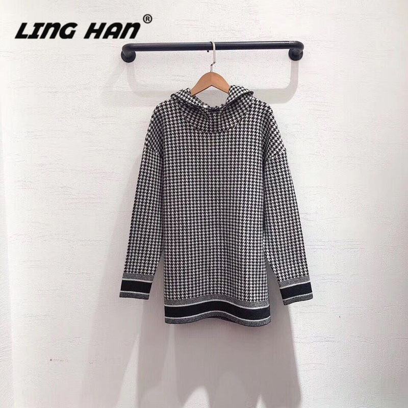 LINGHAN Black White Plaid Hooded Sweater Cashmere Loose Casual Sweater High-quality Women's Long-sleeved Sweater