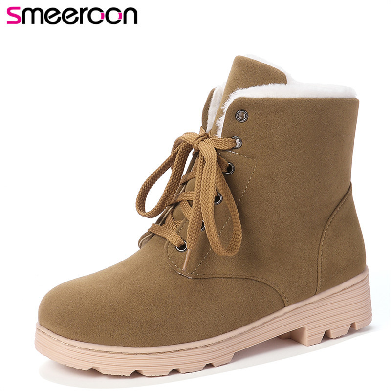 Smeeroon Ladies Boots Shoes Lace-Up Round-Toe Black Winter Women's New-Arrival Wholesale