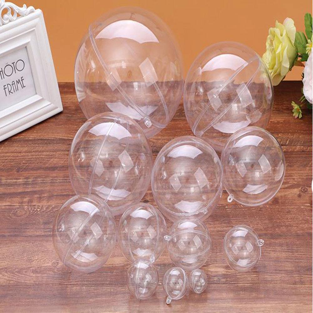 1pcs 2-9cm Open Plastic Clear Bauble Ornament Gift Present Box Decoration Christmas Tress Decorations Ball Transparent