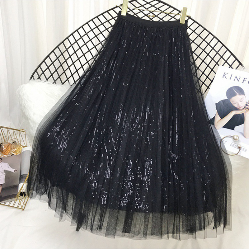 Spring Summer Sequins Pleated Skirts Womens Two Layer Tulle Glitter Casual Long Fashion Women Midi Skirts Office Lady CRRIFLZ