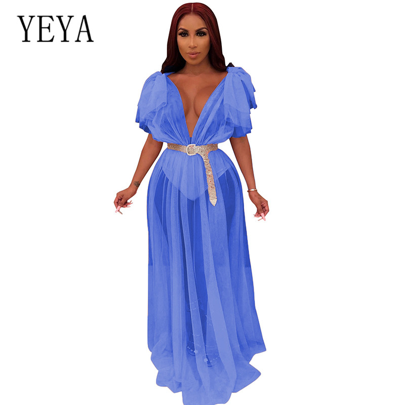 YEYA Women Sexy Sheer Mesh Long Dress Fashion Ruffles Deep V Neck Night Club Party Maxi Dress Elegant Orange Black Vestidos Robe in Dresses from Women 39 s Clothing