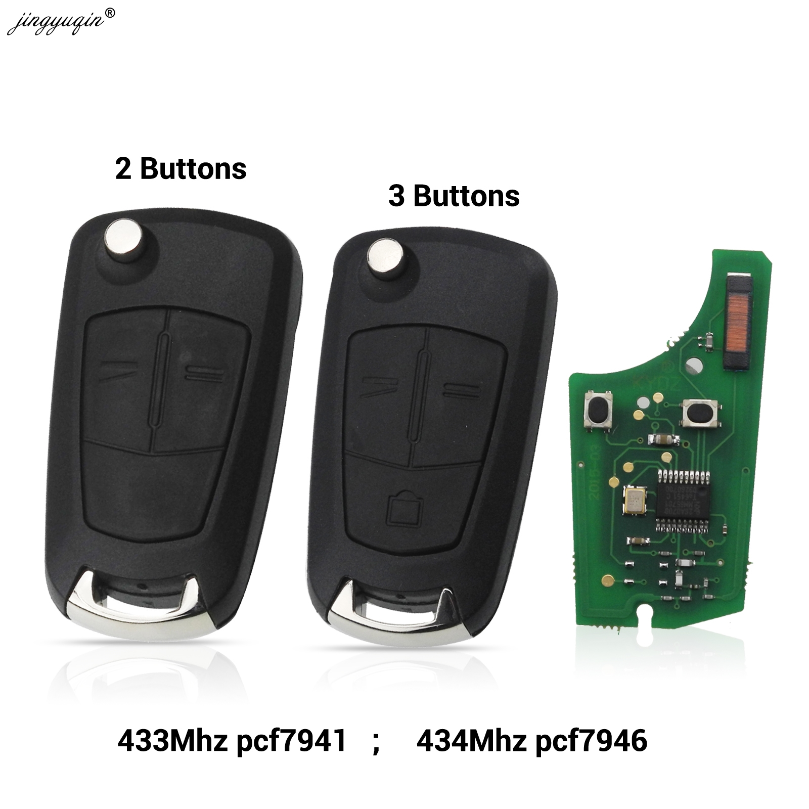 Jingyuqin Auto Remote PCF7941 Sleutel Pak Voor Opel/Vauxhall Astra H 2004-2009, zafira B 2005-2013 PCF7946 Voor Vectra C 2002-2008