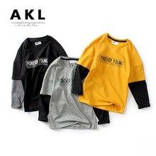 JENYA 2019 New Autumn Boys Girls Long Sleeve Full Letter Print Top Solid Basic Shirt Children Clothes Kids Cotton