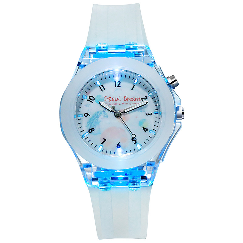 Giá bán Cristal Dream Pupils Childrens Luminous Silicone Strap Watch Cute Cartoon Flash Quartz Kids Watch Boy Girl Birthday Clock Hour