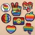 Радужные вышитые нашивки с сердечками и флагом для одежды, нашивка, значок, наклейка, сделай сам, аппликация, полосы, термоклейкие нашивки с ...