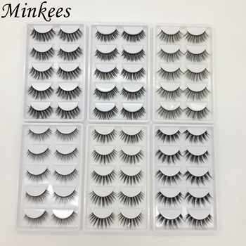 5pairs 7pairs 3D Soft Faux Mink False Eyelashes Wholesale Bulk Natural Looking Handmade Wispy Cruelty Free Lashes Custom Minkees image