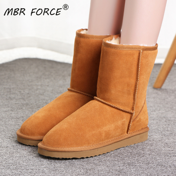MBR FORC women boots waterproof genuine cowhide leather snow boots Wool Warm winter shoes for women large size Female black boot aiyuqi genuine leather female winter boots full cowhide waterproof wool lined fashion women booties female bare black boots