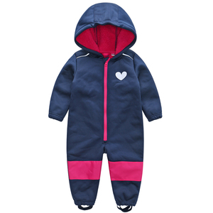 Image 4 - Childrens soft shell plus velvet integrated windproof and rainproof jumpsuit Childrens waterproof jumpsuit, warm jumpsuit,